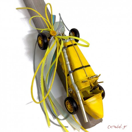 Πασχαλινή λαμπάδα με μεταλλικό αυτοκινητάκι Ράλλυ Κίτρινο