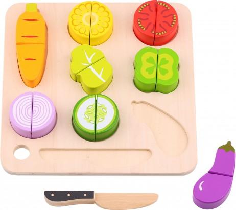 Ξύλινα Σφηνώματα Λαχανικά σε Δίσκο Κοπής Tooky Toy TL041