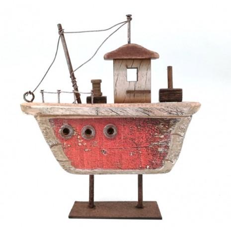 Ξύλινο Vintage Καράβι Κόκκινο σε Μεταλλική Βάση SP 03-21171